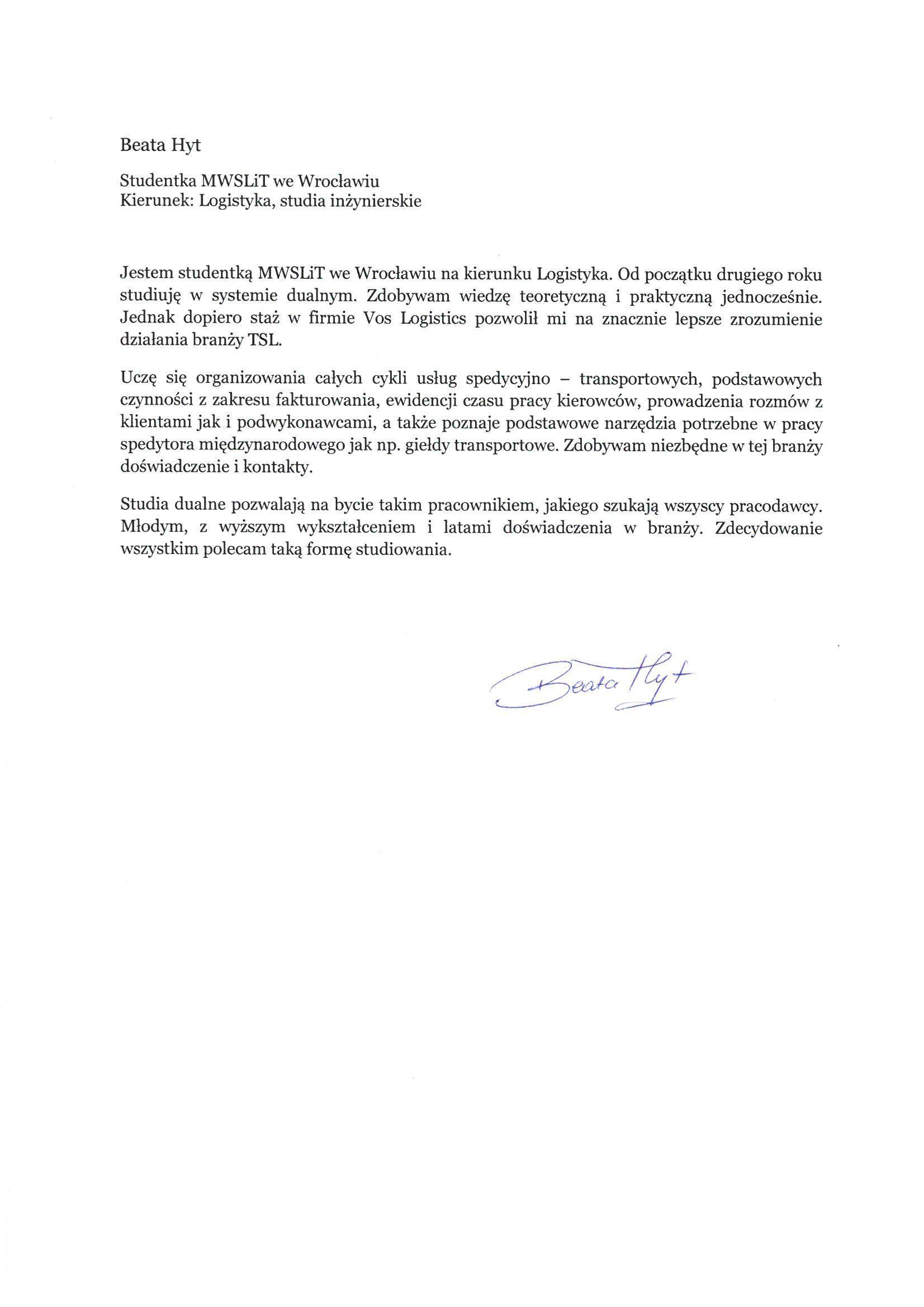 List Motywacyjny Studia Magisterskie